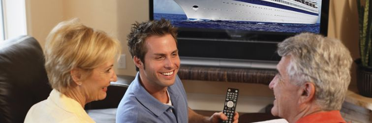 Guy showing remote with ship on screen